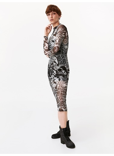 Twist Çift Parça Transparan Form Dar Elbise Siyah